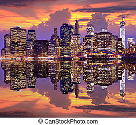 Lower Manhattan with dramatic skyline overhead.