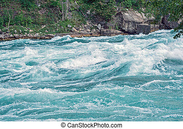 Lower Niagara river, Ontario Canada - Powerful rapids in the...