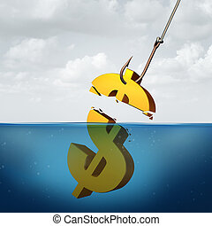 Lower returns business concept as a three dimensional dollar sign in the water with a fishing hook pulling a small portion of the financial symbol as a protit taking metaphor for inferior performance.