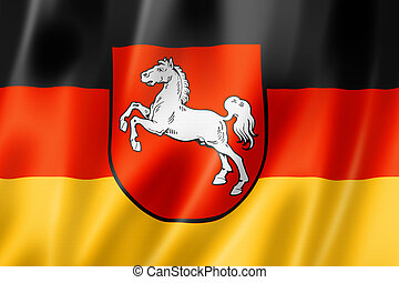 Lower Saxony state flag, Germany waving banner collection. 3D illustration