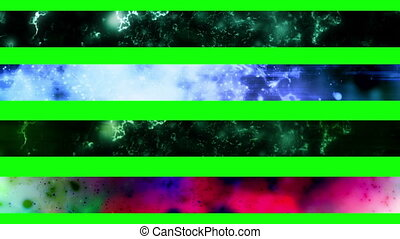 Abstract looping Lower Thirds, use cropping or masking to separate Lower Thirds. The green screen is there and will work on some but best to use cropping or masking to select what you want. Also feel free to use your creativity to come up with other shapes, or use them as a texture for a lower third...
