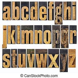 lowercase alphabet in wood type