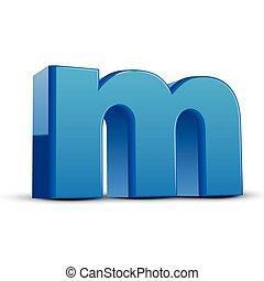 lowercase blue letter M