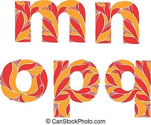 lowercase, este prego, letras, alfabeto, florais, m, typeface, leaves., padrão, outono, floral, retro, laranja, n, decorado, herbário, p, q.