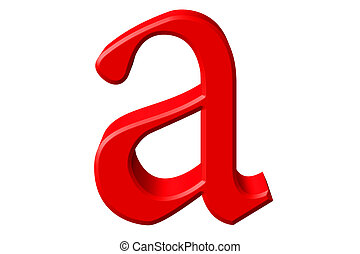 Lowercase letter A, isolated on white, with clipping path, 3D illustration