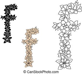 Lowercase letter f adorned by flowers