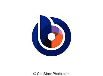 lowercase, początkowy, b, barwny, koło, litera