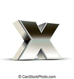 left tilt steel letter X, 3D illustration graphic isolated on white background