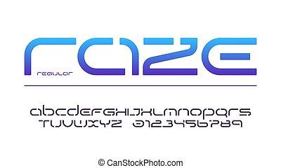 lowercase, stencil, irodalomtudomány, abc, typography., számok