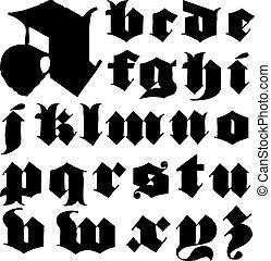 lowercase, vetorial, gótico, jogo, letra