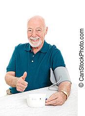 Lowering Blood Pressure Success - Senior man succeeds in...
