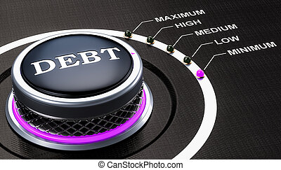 Lowest level of debt concept, knob. 3D rendering