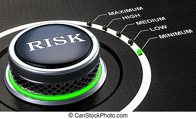 Lowest level of risk concept, knob. 3D rendering