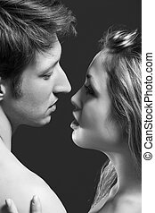 lowkey B and W portrait of a passionate couple - lowkey ...
