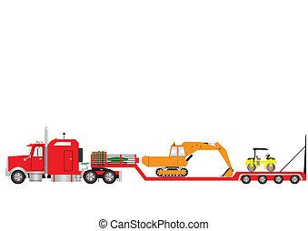 Lowloader - Vector Image ofa RedLowload Semitrailer and...