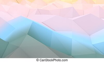 A lowpoly 3d illustration of a blue and pink backdrop with a hilly and volumetric surface. The area looks like some modern art picture full of broken lines and triangular forms.