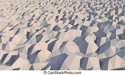A lowpoly 3d illustration of a white and grey background with snowy pyramidal objects. The area looks like alien territory full of multiform and spiky hills.