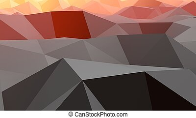 An optical art 3d rendering of a black, grey, brown and orange lowpoly backdrop with a hilly and convex surface. A multiform area looks like an alien globe from distant galaxy.