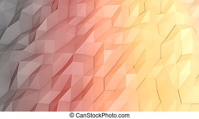 An abstract 3d illustration of a peach, pink and grey lowpoly backdrop with a triangular, rhombus and hexagonal forms. A multiform area looks like a splendid picture