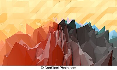 An op art 3d illustration of a black, grey, brown and yellow lowpoly backdrop with a hilly and rocky surface. A multiform area looks like an alien planet from distant world.