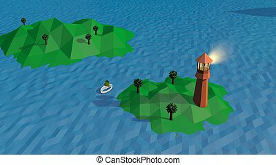 Lowpoly Landscape with a Lighthouse and Island