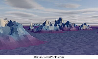Lowpoly Landscape with Arctic Rocks