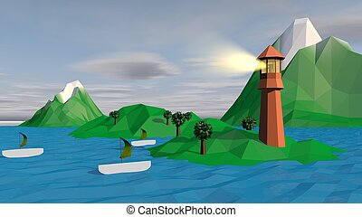 Lowpoly Landscape with Boats, Islets, Spotlight
