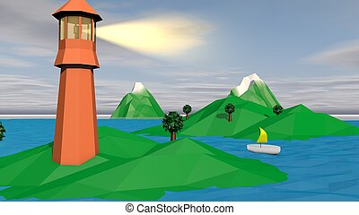 Lowpoly Landscape with Brown Tower and Islet