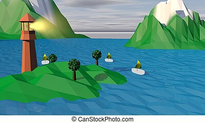Lowpoly Landscape with Islands, Tower, Boats