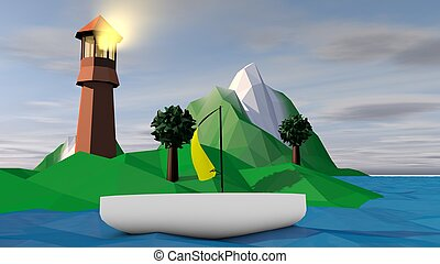Lowpoly Landscape with Searchlight and Islet