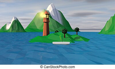 Lowpoly Landscape with Spotlight and Boat