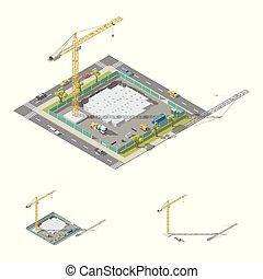 lowpoly, residencial, edificio, el verter, ion, conjunto, isométrico, fundación