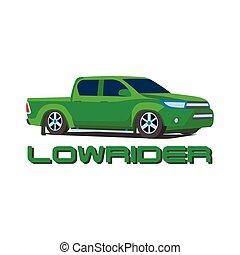 lowrider, automobile, illustrazione, gree, pickup, vettore, camion