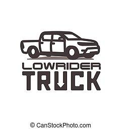lowrider, ilustração, pickup, vetorial, caminhão, modelo, logotipo