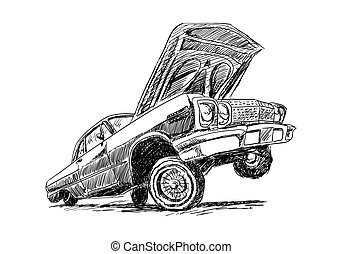 Lowrider on white in sketch style