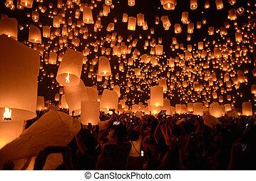 loy, cielo, fiesta, , krathong, linternas, chiangmai, fuego artificial