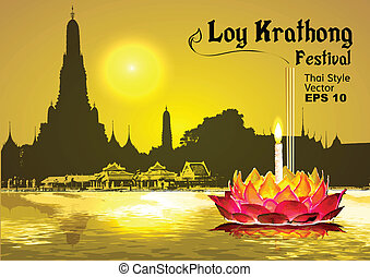 loy, krathong, fiesta, en, tailandia