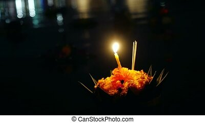 Loy Kratong Festival celebrated in Thailand. Boat from...