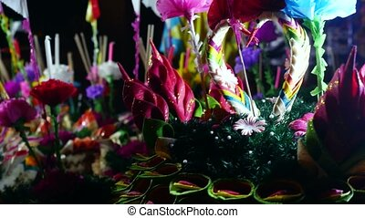 Loy Kratong Festival celebrated in Thailand. Selling...