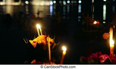 Loy Kratong Festival celebrated in Thailand. Launch boats ...