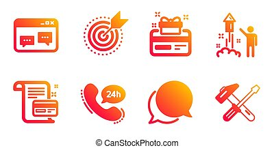 Loyalty card, Browser window and Payment card icons set. Fireworks, Chat message and 24h service signs. Vector