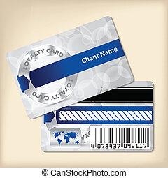 Loyalty card design with blue ribbon and bubbled gray...