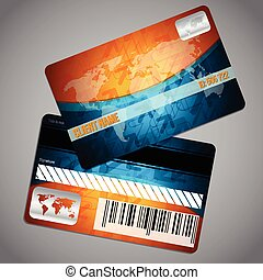 Loyalty card with world map and blue orange background