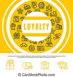 Loyalty concept background, outline style