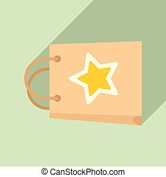 Loyalty paper bag icon, flat style