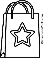 Loyalty paper bag icon, outline style