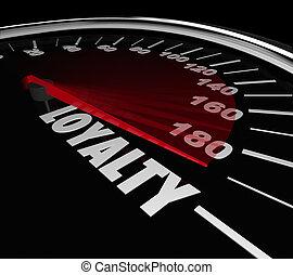 Loyalty Word Speedometer Measuring Return Repeat Customer