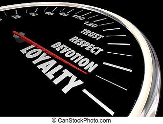 loyauté client, illustration, employé, respect, confiance, compteur vitesse, 3d