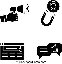 loyauté, ensemble, rétention, glyph, icônes, client
