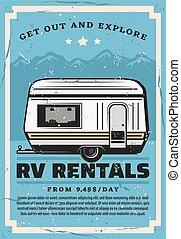 loyer, camping car, voyage, récréatif, voiture, campeur, ...